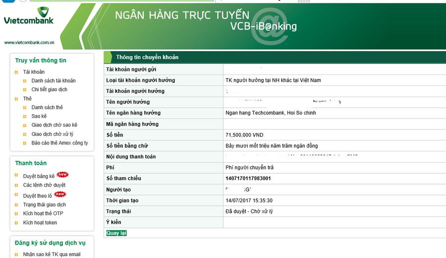 Thay đổi hạn mức chuyển khoản trong giao dịch của Vietcombank