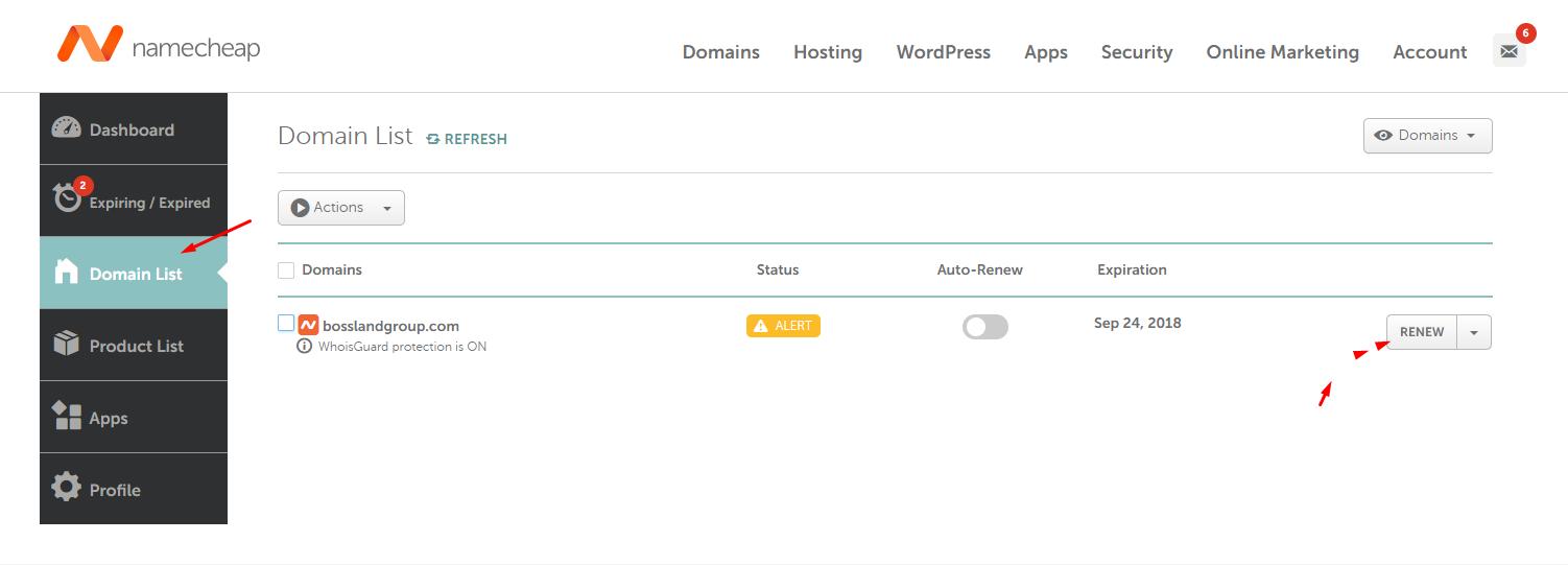 Cách gia hạn domain mua tại namecheap